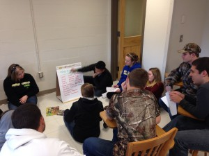 Students in the UD beginning landscape design class brainstorm about the Unity Community courtyard